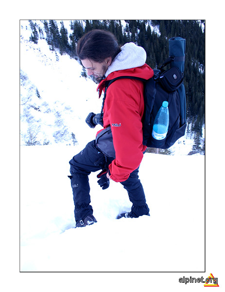 eu pe zăpadă